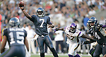 Seattle Seahawks' quarterback Tavaris Jackson passes to wide receiver Doug Baldwin in a pre-season game against the Minnesota Vikings Saturday August, 2011 at CenturyLink Field in Seattle.  The Vikings beat the Seahawks  20-7. ©2011 Jim Bryant Photo. All Rights Reserved.