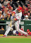 29 September 2010: Philadelphia Phillies' infielder Greg Dobbs in action against the Washington Nationals at Nationals Park in Washington, DC. The Phillies defeated the Nationals 7-1 to take the rubber game of their 3-game series. Mandatory Credit: Ed Wolfstein Photo
