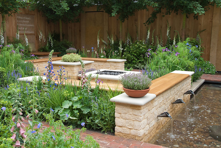 Meditation Garden with poem by Keats Plant Flower Stock