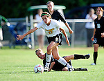 28 August 2009: University of Vermont Catamounts' midfielder Kristina Miele, a Sophomore from Valley Cottage, NY, in action against the University of Montreal Carabins at Centennial Field in Burlington, Vermont. The Catamounts defeated the Carabins 3-2 in sudden death overtime. Mandatory Photo Credit: Ed Wolfstein Photo