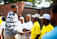 Jalen Rose greets members of the golf service staff for the 5th annual Jalen Rose Leadership Academy golf tournament at the Detroit Golf Club in Detroit, Michigan on Monday August 31, 2015. (Photo by Jared Wickerham/The Players Tribune)