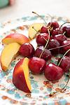 Fresh nectarines and cherries, Puglia, Italy, Europe