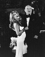 Actress singer Dyan Cannon with Bob Hope during preformance at the Fairmont Hotel in San Francisco.<br />(1974 photo/Ron Riesterer)