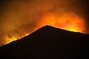 Wild fires on a mountain side in the Peloponnese in Greece;