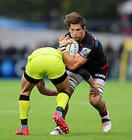 Michael Rhodes of Saracens is tackled. Aviva Premiership match, between Saracens and Leicester Tigers on October 29, 2016 at Allianz Park in London, England. Photo by: Patrick Khachfe / JMP