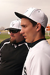 Vale coach Stefen Maupin and centerfielder Seve Yraguen before the start of the second game of a doubleheader between Vale and Nyssa on April 15, 2011. Vale would win 4-1 and 6-1 improving to 10-2 on the season.