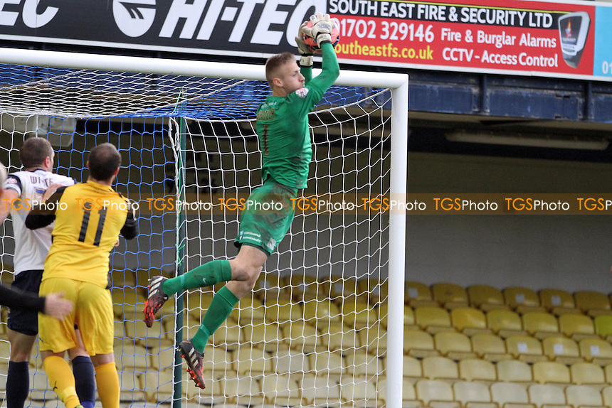 Daniel Bentley (Southend United) takes the ball in the air - Southend United vs Chester - FA Challenge Cup 1st Round Football at Roots Hall, Southend on Sea, Essex - 08/11/14 - MANDATORY CREDIT: Mick Kearns/TGSPHOTO - Self billing applies where appropriate - contact@tgsphoto.co.uk - NO UNPAID USE