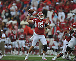 Arkansas quarterback Ryan Mallett (15) at Reynolds Razorback Stadium in Fayetteville, Ark. on Saturday, October 23, 2010.