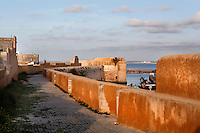 Defensive walls of the Portuguese Fortified city of Mazagan, 16th century, El Jadida, Morocco. El Jadida, previously known as Mazagan (Portuguese: Mazag√£o), was seized in 1502 by the Portuguese, and they controlled this city until 1769. The fortification with its bastions and ramparts is an early example of Renaissance military design. Picture by Manuel Cohen