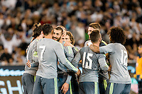 Melbourne, 24 July 2015 - Karim Benzema of Real Madrid celebrates his goal in game three of the International Champions Cup match between Manchester City and Real Madrid at the Melbourne Cricket Ground, Australia. Real Madrid def City 4-1. (Photo Sydney Low / AsteriskImages.com)