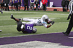 Scottie Williams dives in to the end zone in the first half against St. Thomas. The Tommies won the second-round NCAA game 24-17.