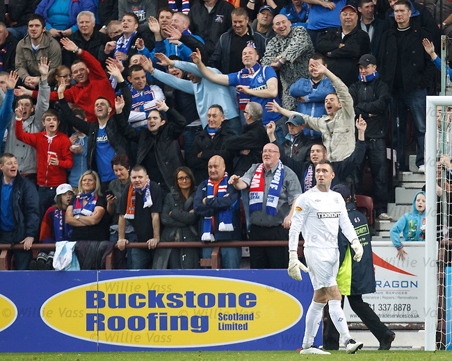 Rangers fans diving to the left and diving to the right to salute their keeper