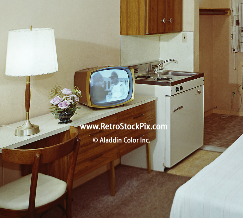 Motel Room With Very Old Black & White TV Show Playing