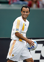 20 May 2007:  Galaxy captain Landon Donovan smiles with the ball after a call during a 1-1 tie for MLS Chivas USA vs. Los Angeles Galaxy pro soccer teams at the Home Depot Center in Carson, CA.