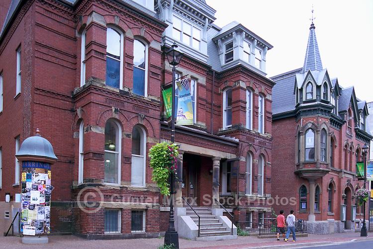 Halifax, NS, Nova Scotia, Canada - Red Brick Heritage Houses on Downtown City Street
