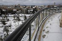 View of Jerusalem center during snow storm. December 13, 2013.  Photo by Oren Nahshon