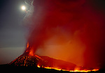 Moon over erupting summit vent, Mt. Etna, Sicily, Italy