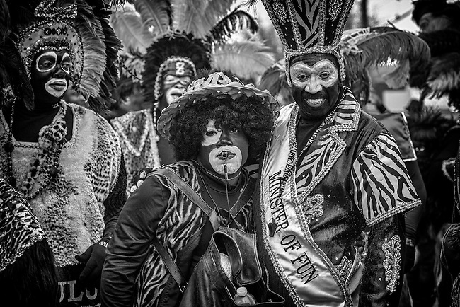 Zulu Tramps! Members of the Zulu Social Aid & Pleasure Club pose while marching in the Zulu Parade on Jackson Avenue, the first parade on the morning of Mardi Gras Day on February 12, 2013 in New Orleans, Louisiana.