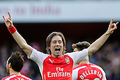 01.03.2015.  London, England. Barclays Premier League. Arsenal versus Everton.  Arsenal's Tomas Rosicky celebrates his goal