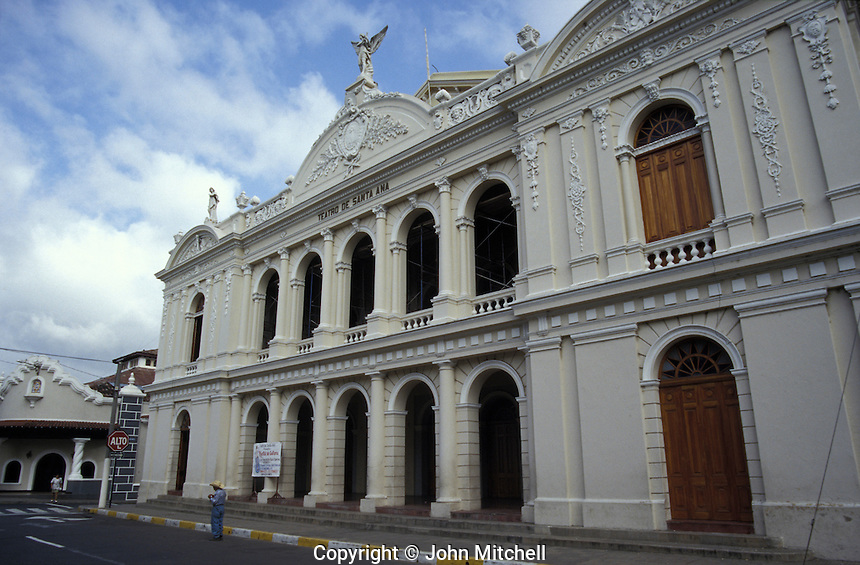 The Neoclassical style Teatro de Santa Ana in Santa Ana, the second largest city in Ela Salvador, Central America