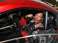 Mar 15, 2015; Gainesville, FL, USA; NHRA pro stock driver Greg Anderson celebrates after winning the Gatornationals at Auto Plus Raceway at Gainesville. Mandatory Credit: Mark J. Rebilas-