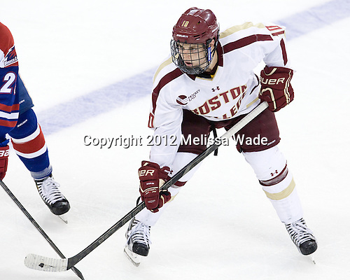 Danny Linell (BC - 10) - The Boston College Eagles defeated the visiting University of Massachusetts Lowell River Hawks 6-3 on Sunday, October 28, 2012, at Kelley Rink in Conte Forum in Chestnut Hill, Massachusetts.