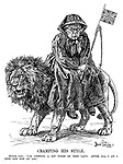 """Cramping His Style. British Lion: I'm getting a bit tired of this lady. After all, I AM a lion, and not an ass."""""""