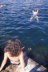 Swimmers in Central Ontario Lake, Haliburton County