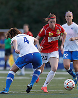 Western New York forward Adriana Martin Santamaria (20) on the attack. In a Women's Premier Soccer League Elite (WPSL) match, the Boston Breakers defeated Western New York Flash, 3-2, at Dilboy Stadium on May 26, 2012.