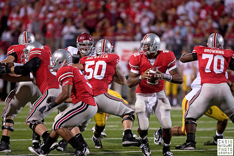 12 September 2009:  Football -- Ohio State quarterback Terrelle Pryor during their game against USC at Ohio Stadium in Columbus.  USC won 18-15.  Photo by Christopher McGuire.