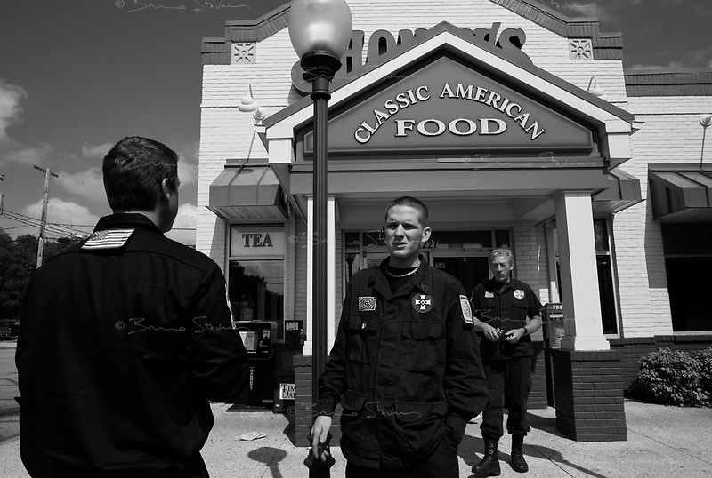 Florence, AL, USA , May 9th 2009.Around 15 'Klansmen' have lunch in a Shoney roadside restaurant after a rally in north Alabama. Since President Obama was elected on Nov. 4th, 2008, the Ku Klux Klan has seen new memberships applications being multiplied by 6 compared to the previous year!