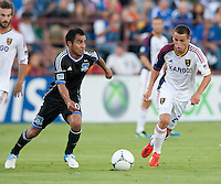 Santa Clara, California - Saturday July 14, 2012: Real Salt Lake's Luis Gil and San Jose Earthquakes' Rafael Baca in action during a game at Buck Shaw Stadium, Stanford, Ca     San Jose Earthquakes defeated Real Salt Lake 5 - 0.