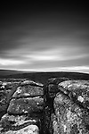 Dartmoor barren countryside with boulders