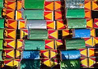Trajineras (boats) in  Xochimilco, Mexico City, Mexico