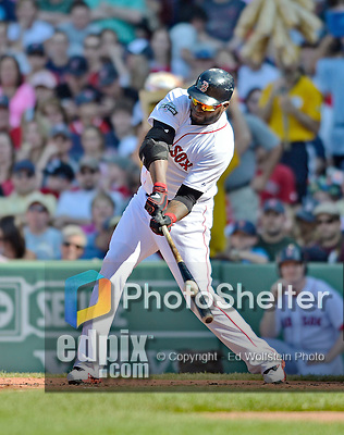 9 June 2012: Boston Red Sox designated hitter David Ortiz gets a double in the second inning against the visiting Washington Nationals at Fenway Park in Boston, MA. The Nationals defeated the Red Sox 4-2 in the second game of their 3-game series. Mandatory Credit: Ed Wolfstein Photo