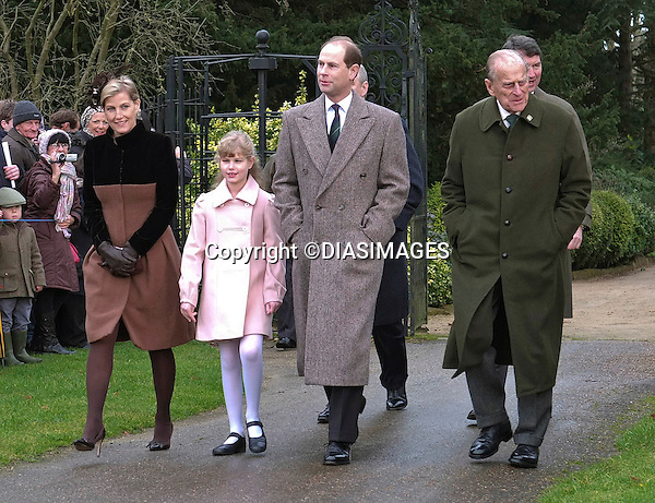 """ROYALS ATTEND CHRISTMAS DAY SERVICE.Members of the royal family attend Christmas Day Church Service at St. Mary Magdalene's on the Sandringham Estate.They included The Queen, Prince Philip, Prince Charles, Camilla, Duchess of Cornwall, Princess Anne, Prince Edward, Sophie, Countess of Wessex, Lady Louise, Prince Andrew, Zara Phillips, Mike Tindall, Peter Phillips and Autumn Kelly_25/12/2012.Kate and Prince William broke with tradition and did not attend..Picture Shows: Sophie, Lady Louise, Prince Edward and Prince Philip.Mandatory credit photo:©DiasImages..(Failure to credit will incur a surcharge of 100% of reproduction fees)..**ALL FEES PAYABLE TO: """"NEWSPIX  INTERNATIONAL""""**..Newspix International, 31 Chinnery Hill, Bishop's Stortford, ENGLAND CM23 3PS.Tel:+441279 324672.Fax: +441279656877.Mobile:  07775681153.e-mail: info@newspixinternational.co.uk"""