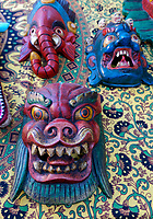 Traditional Nepalese ceremonial wooden masks