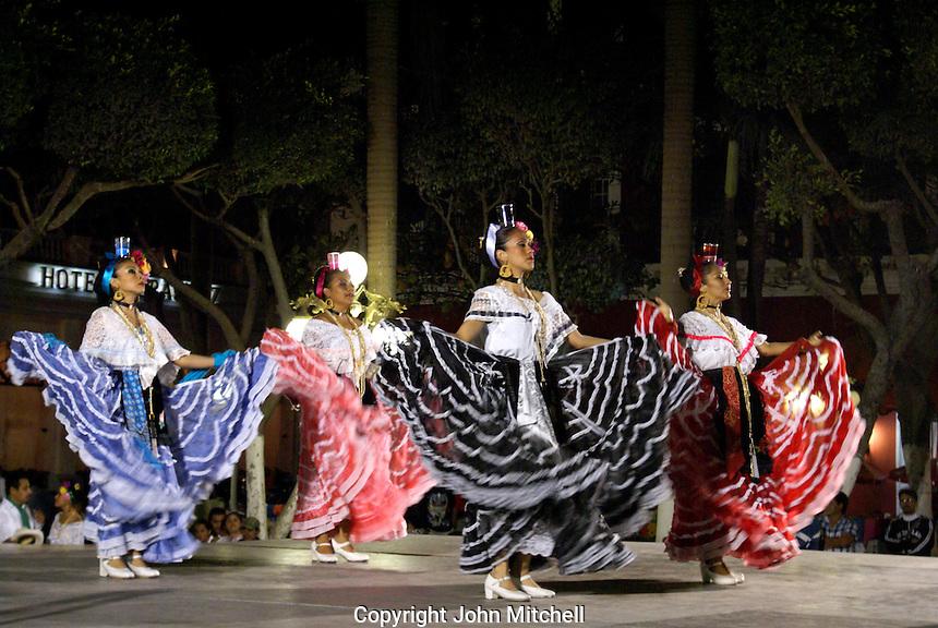 Folk dancers performing the traditional Los Pescadores dance in the Plaza de Armas, Veracruz, Mexico