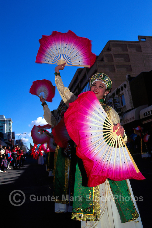 Female Chinese Dancers in the Chinese New Year's Parade in Chinatown, Vancouver, British Columbia, Canada