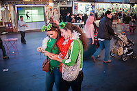 Revelers in Times Square in New York on Saturday, March 17, 2012 celebrate after the St. Patrick's Day parade. (© Richard B. Levine)