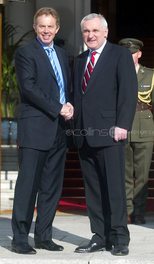 Taoiseach Meets Blair.(R TO L) An Taoiseach Bertie Ahern TD meets Prime Minister fof Great Britain Tony Blair MP during a press photocall between the two at Government Buildings, Dublin. 5/2/2004.Photo: Gareth Chaney Collins