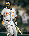 Baltimore Orioles Adam Jones carries a broken bat after flying out against the Seattle Mariners' at SAFECO Field in Seattle April 19, 2010. The  Mariners beat the Orioles 8-2. Jim Bryant Photo. &copy;2010. ALL RIGHTS RESERVED.