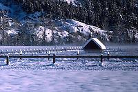 Snow Covered Farm Building in Pemberton Valley near Whistler, BC, British Columbia, Canada - Southwestern BC Region, Winter