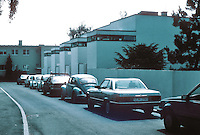 Stuttgart: Weissenhofsiedlung, 1927. Rear entrance of row of 5 houses backing on Panowweg.  J.J.P. Oud.