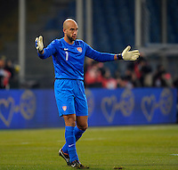 Goalkeeper Tim Howard  (USA), during the friendly match Italy against USA at the Stadium Luigi Ferraris at Genoa Italy on february the 29th, 2012.