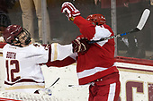 Mike Booth (BC - 12), Charlie McAvoy (BU - 7) - The visiting Boston University Terriers defeated the Boston College Eagles 3-0 on Monday, January 16, 2017, at Kelley Rink in Conte Forum in Chestnut Hill, Massachusetts.