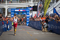Jordan Rapp on his way to the finish line in the Accenture Ironman California 70.3 in Oceanside, CA on March 29, 2014.