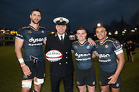 Luke Charteris, George For and Jonathan Joseph of Bath Rugby pose for a photo after the match. European Rugby Challenge Cup match, between Bath Rugby and Pau (Section Paloise) on January 21, 2017 at the Recreation Ground in Bath, England. Photo by: Patrick Khachfe / Onside Images