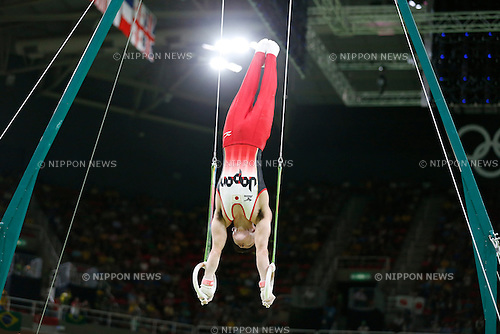 Kohei Uchimura (JPN),<br /> AUGUST 8, 2016 - Artistic Gymnastics :<br /> Kohei Uchimura of Japan competes on the rings in the Men's Team Final at Rio Olympic Arena during the Rio 2016 Olympic Games in Rio de Janeiro, Brazil. (Photo by Yuzuru Sunada/AFLO)