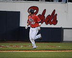 Mississippi's Taylor Hashman hits a three run home run vs. Auburn during a college baseball game in Oxford, Miss. on Thursday, May 20, 2010.  (AP Photo/Oxford Eagle, Bruce Newman)